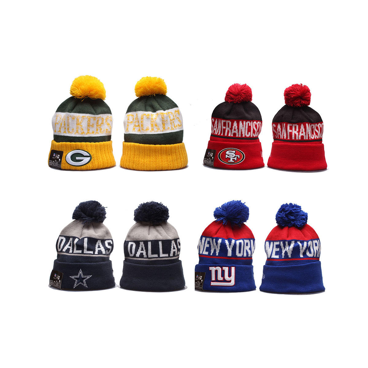 Hot sales knitted NFL beanies winter hats for 32 teams
