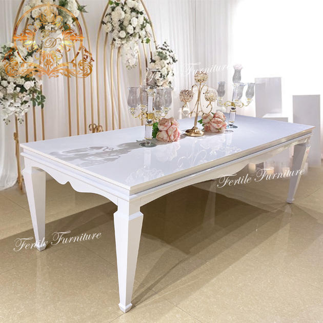 Event rectangle white mdf metal base dining wedding table with chair