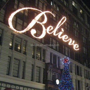 Outdoor commercial lighted Christmas believe signs rope displays for winter festival displays