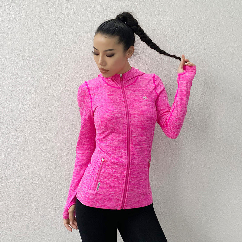 Women's Fitness Long Sleeve T-shirts Quick Dry Fashion Yoga Zipper Hoodie Running Jackets