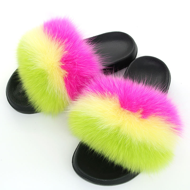 Winter Fluffy Fur Slippers Women Real Fox Fur Slides Mixed Fuzzy Flat Fur Sandals Indoor Sandals for Women and Ladies
