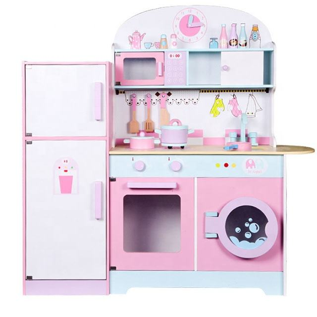 Top Quality New Design Large Wooden Cooking Pretend Kids Kitchen Play Set