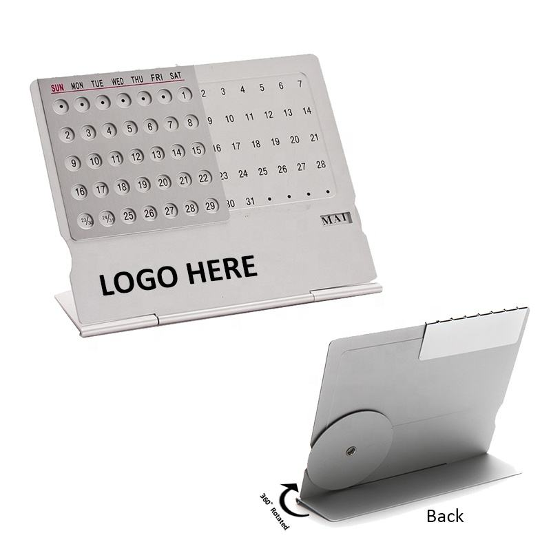 perpetual desk calendar aluminum foldable table calendar for promotion