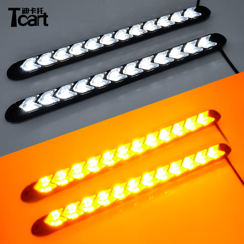 Tcart coche blanco Flexible/ámbar Switchback de faro flecha intermitente impermeable 12 <span class=keywords><strong>LED</strong></span> DRL luces <span class=keywords><strong>LED</strong></span> de luz diurna