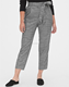 Custom ladies regular fit cropped checked trousers plaid pants women