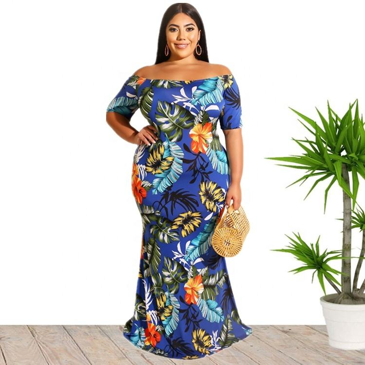 Wholesale XL 5XL Plus Size Sexy Off Shoulder Maxi Long Floral Tropical Bohemian Dress For Women