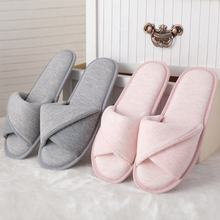 Latest Design Custom Flat Anti Slip TPR Sole Open Toe Home Cotton Slippers for Ladies