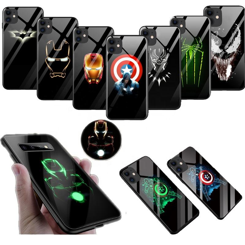 Marvel Hero Design Luminous glass Phone Case Protective Scratch Proof shockproof top quality Customization support