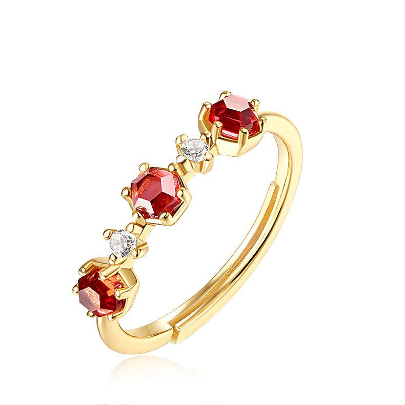 Женская мода гибкая серебряный перстень, тройной гранат шестиугольник кольца ювелирные изделия