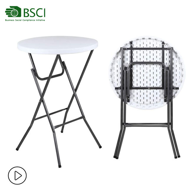 High Top Bistro Tables HDPE Plastic Portable Folding Cocktail Bar Table for Party Rental