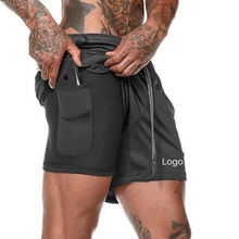 Blank Custom Logo 2 In 1 Lined Athletic Sports Shorts Mesh Jogger Mens Running Shorts