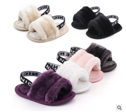 Hot selling beautiful furry baby sandals anti-slip baby shoes indoor infant
