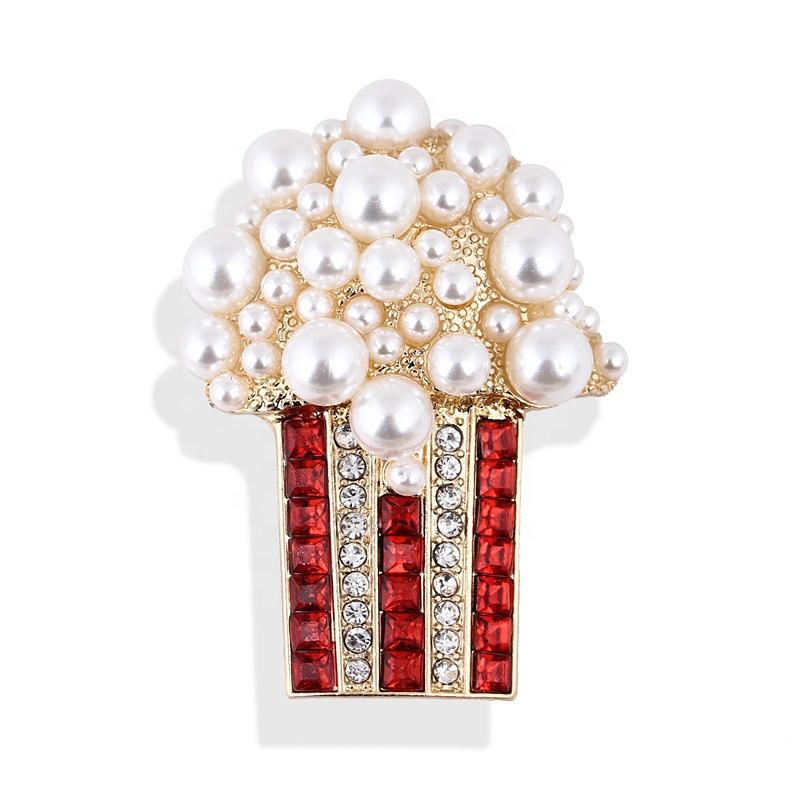 2020 Baroque style vintage pearl popcorn brooch mini female pin brooch for girl