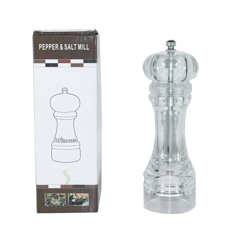 China Manufacturer Supply Clear Acrylic Kitchen Spice Mills Manual Salt and Pepper Grinder