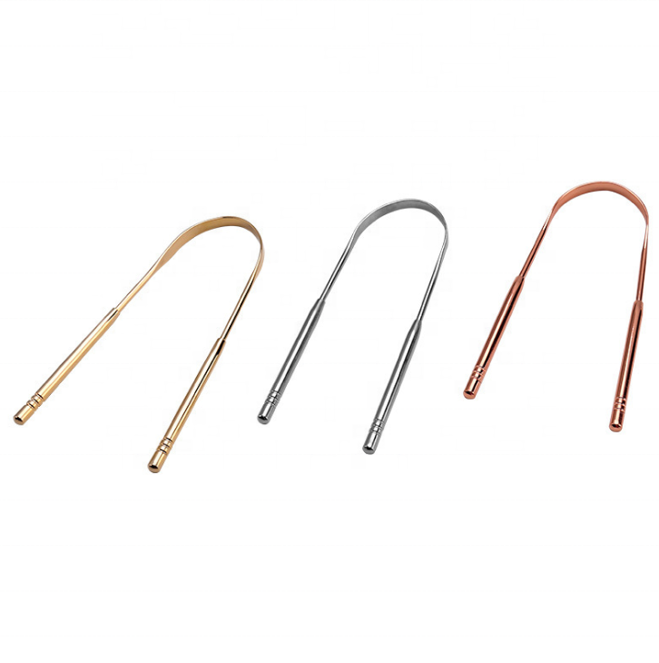 Gold Stainless Steel Surgical Grade Stainless Steel Tongue Cleaners 304 Stainless Steel Tongue Scraper