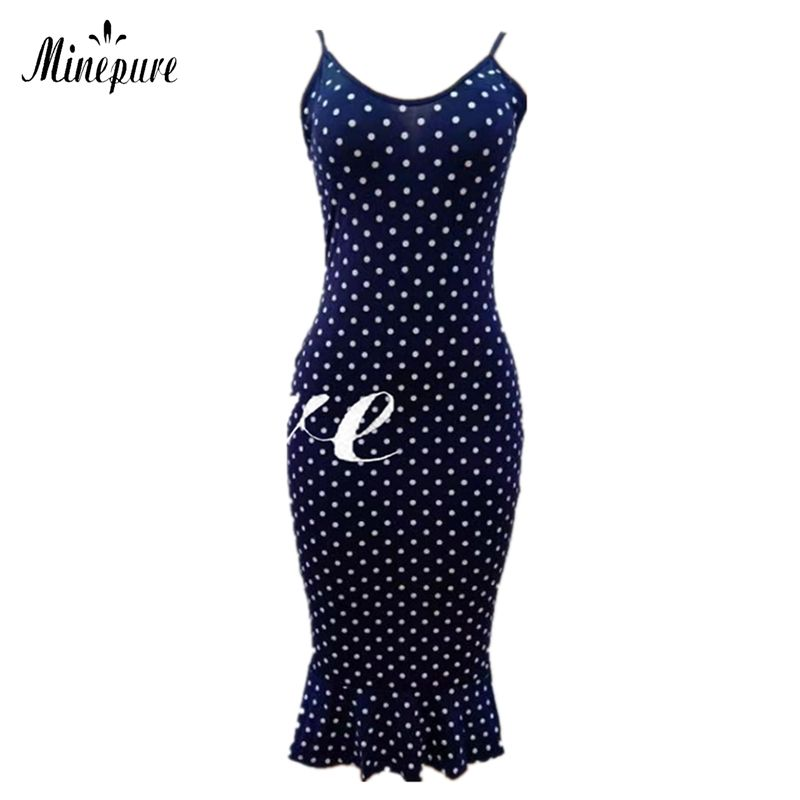 Fashion Summer Dot Strap Sundress Women Casual Dresses