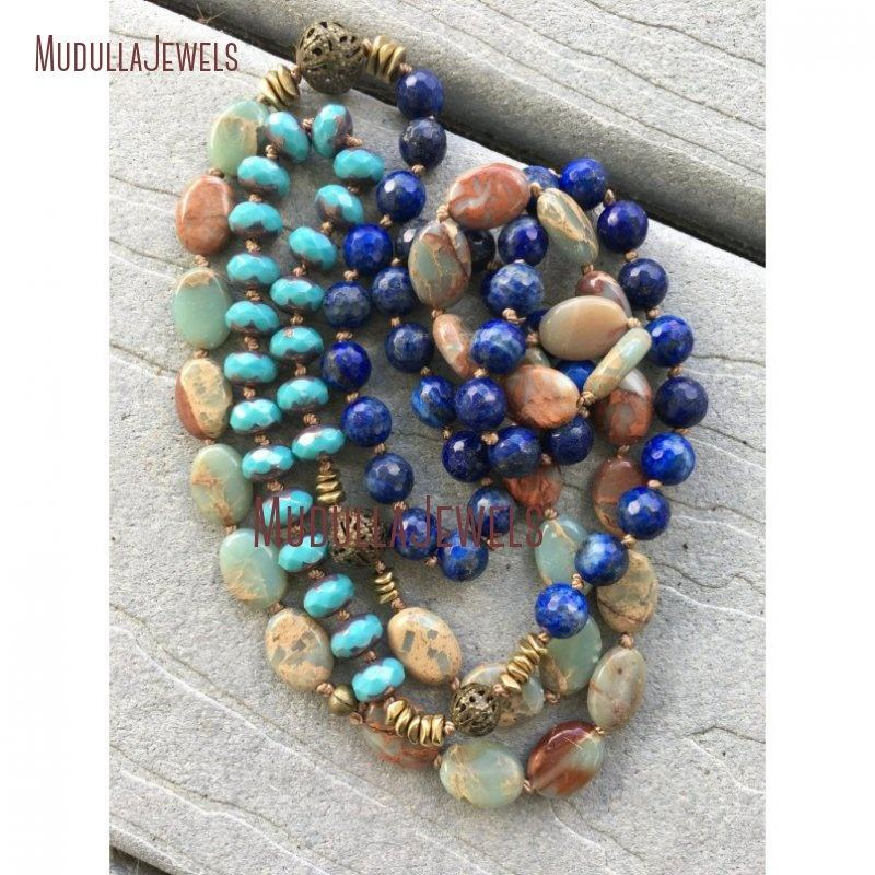 NM20375 Bohemian Long Layering Aqua Terra Jasper Lapis Czech Beads Hand Knotted Necklace