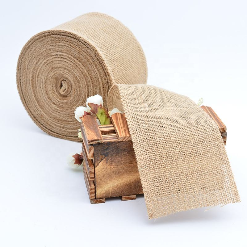 Wholesale Natural Jute Burlap Hessian Ribbon Roll Vintage Rustic Wedding Decoration Table Chair Decor