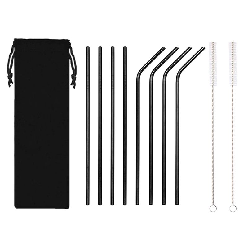 Wholesale High Quality Custom Logo Reusable 8 piece 304 Stainless Steel Metal drinking Straws Set With Brush And Pouch