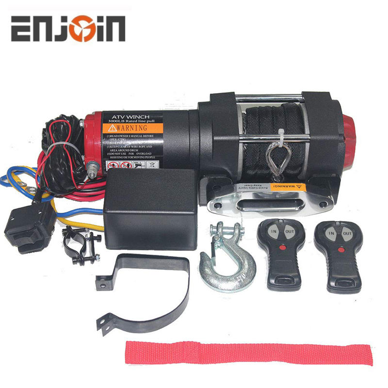 ENJOIN 12V 3000LBS/1363KGS Electric Winch Synthetic Rope 15Meter Wireless For ATV/UTV