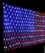 2M*1M 110V American Flag Net Light American Independence Day Memorial Day Holiday Home Garden Wedding Party Decoration lighting