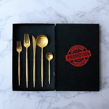 High quality Stainless steel 304 gold flatware, matte gold spoon fork knife cutlery set