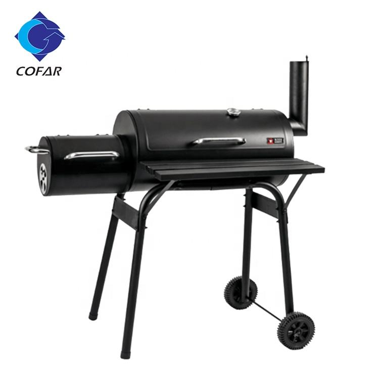 Barrel Charcoal Grill & Offset Smoker for Outdoor BBQ