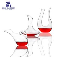 Hand made 1750ml U shape clear glass decanter for red wine stock clear decanters high quality with color box pack