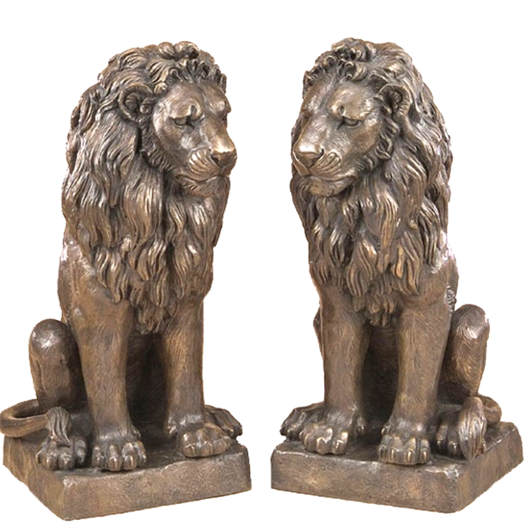 Metal outdoor animal sculpture antique large life size bronze lions statue on sale