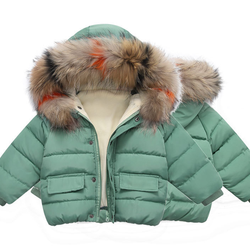2019 autumn and winter plus velvet thick baby jackets cotton solid color hooded fur collar children's baby winter jacket