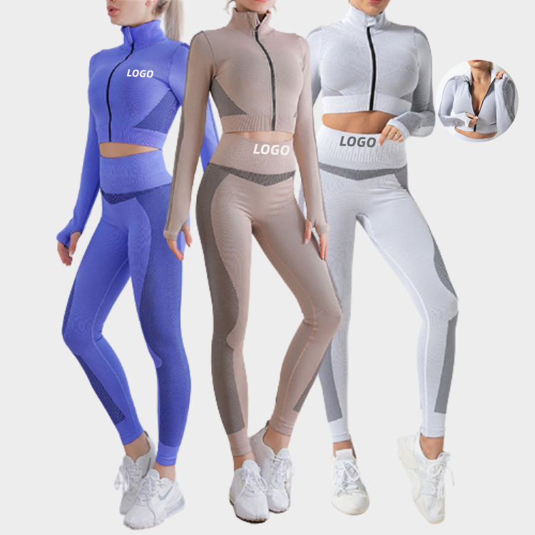 Best Selling Crop Top Two Piece Activewear Women Long Sleeve Yoga Sets Workout Clothing