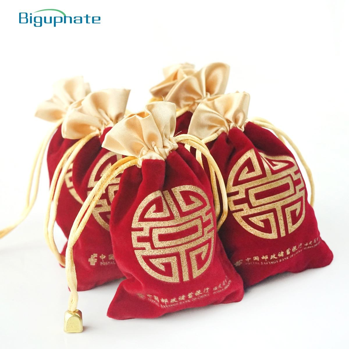 Wholesale custom gift package bags red velvet drawstring bag