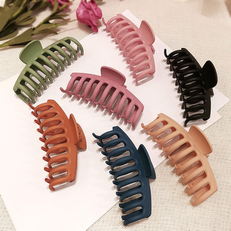 New korean Women Simple Claw Clip Colored Frosted Plastic Large Size Hair Claws