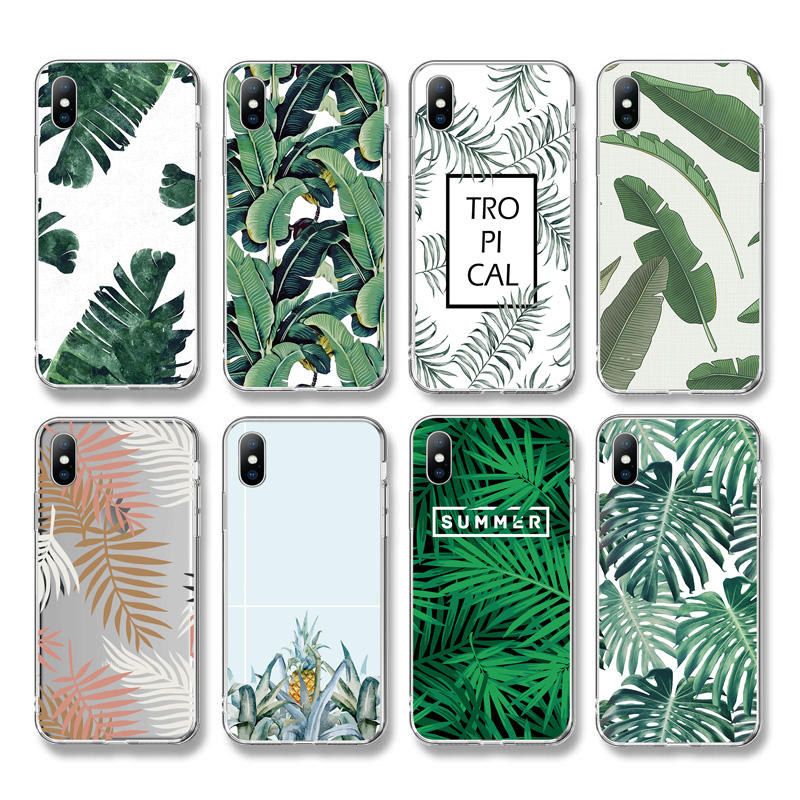 Ottwn Summer Banana Leaf Phone Case For iPhone 12 11 X Pro 7 8 Plus XS XR XS Max SE Retro Leaves Soft TPU Silicone Back Cover
