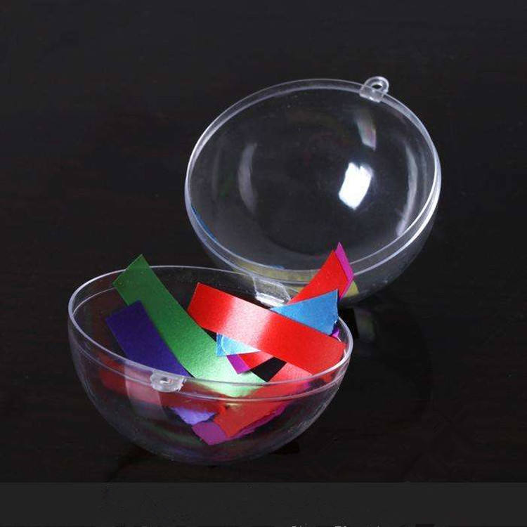 Dongguan openable 8cm plastic christmas ball transparent