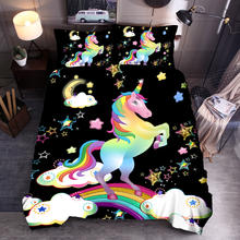 Unicorn Comforter 4 pc Set Amazon Hot Sale Brushed Microfiber E-bay Hot Sale Cartoon Children Comforter Set
