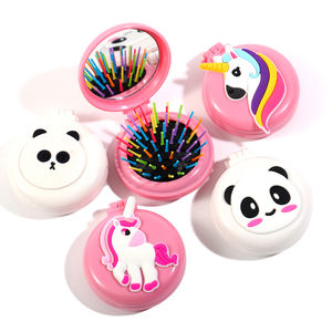 Personalized round brush and comb plastic air cushion cute hair brush with mirror 3D cartoon animal rainbow hair brush adult
