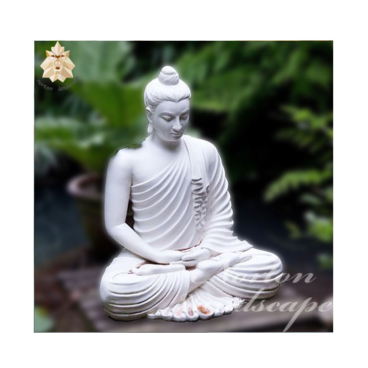 large outdoor modern life size pure white stone sitting marble Buddha garden statues sculpture for sale