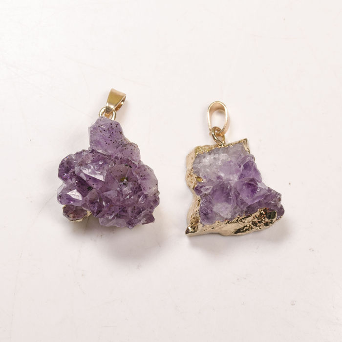 Wholesale Price Gold Plated Natural Amethyst Geode Druzy Pendant