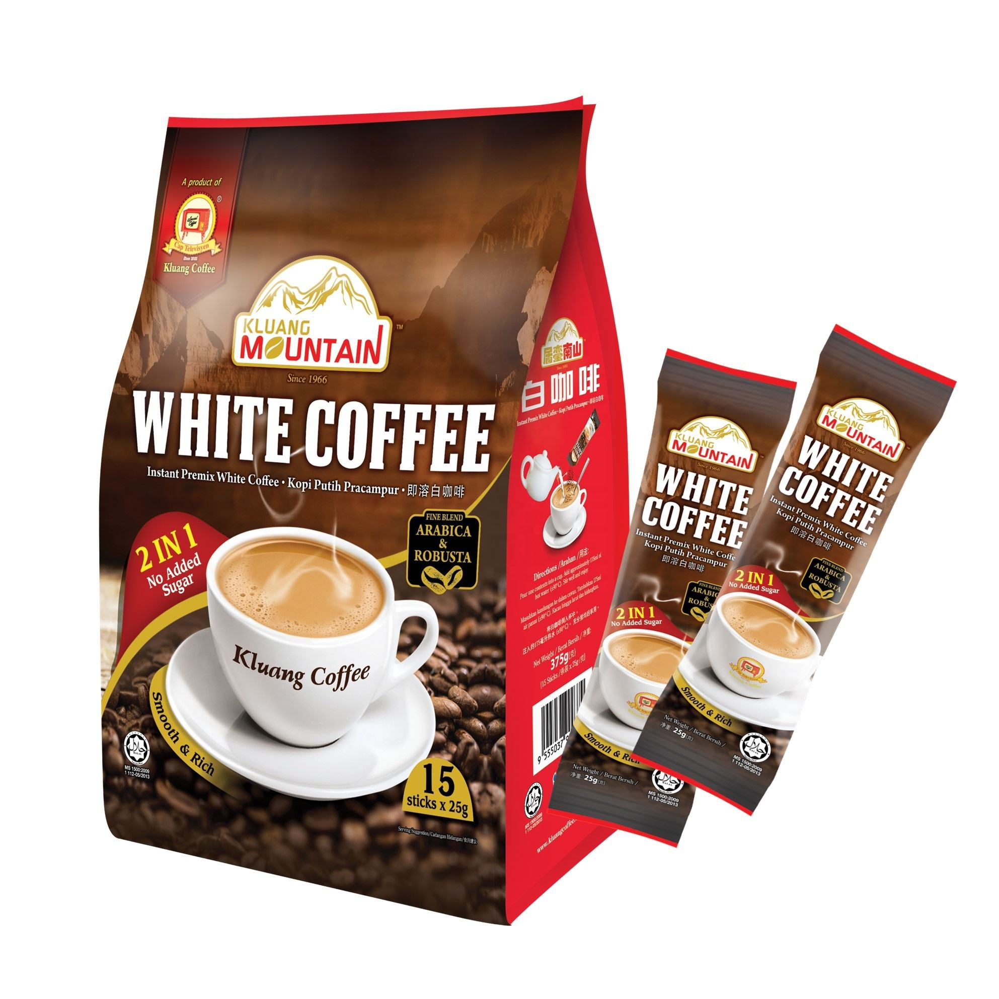 Kluang Mountain Instant White Coffee 2 in 1 (No Added Sugar) Malaysia HALAL (15 Sticks x 25g) Televisyen Brand Net Weight 375g