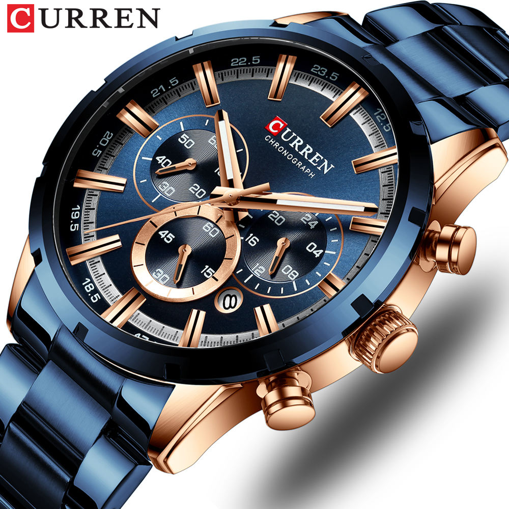 CURREN 8355 Fashion Mens Watches with Stainless Steel Top Brand Luxury Sports Chronograph Quartz Watch Men Relogio Masculino