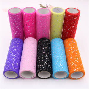6 inch 10 Yards Sequin Tule Stof Rolls Polka Dot Tule voor Tutu Rok Wedding kerst decoratie tule