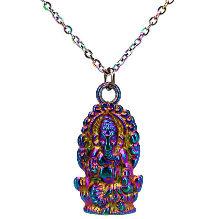 Rainbow Hindu Thailand Buddha Pikanet Ganesh Pendant 20'' Stainless Chains Necklace Women Girl Gift