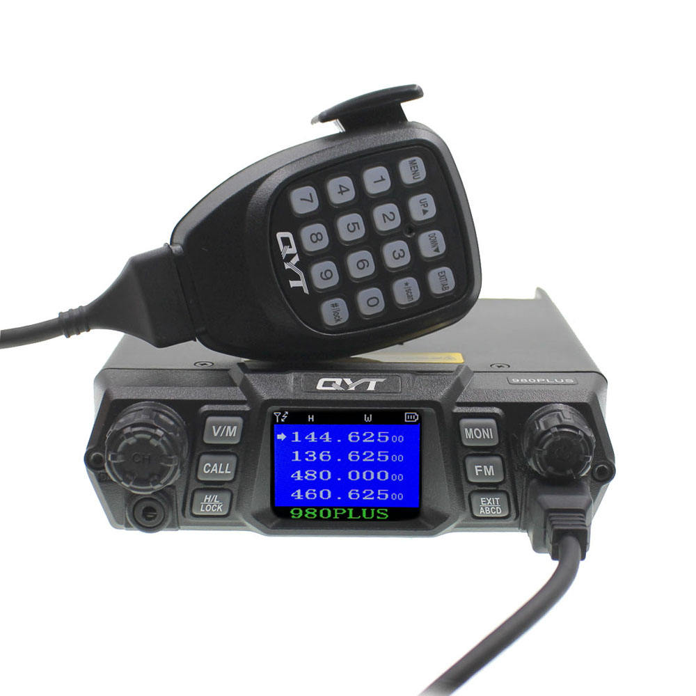 QYT PTT Mobile Transceiver KT-980 Plus with programming cable VHF 136-174mhz UHF 400-480mhz 75W Dual Band Base Car radio