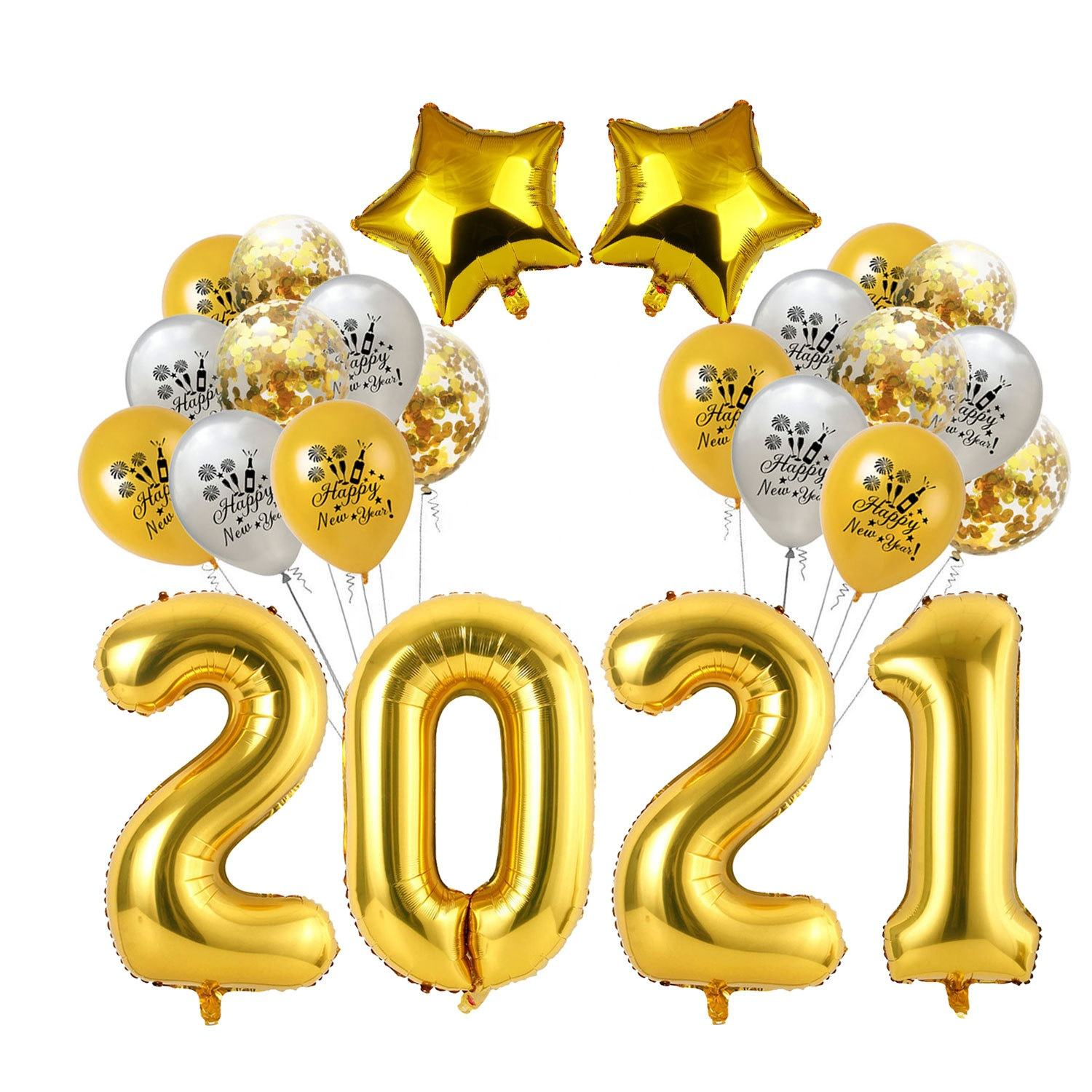 Photo Prop Gift Supplies Eve Banner Set Kit Decoration Latex Foil House Decor Backdrop Golden 2021 Happy New Year Party Balloon