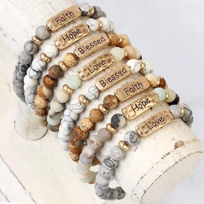 New arrival high quality inspirational personalized engraved love Hope beaded bracelet 8mm natural stone stretch bracelets