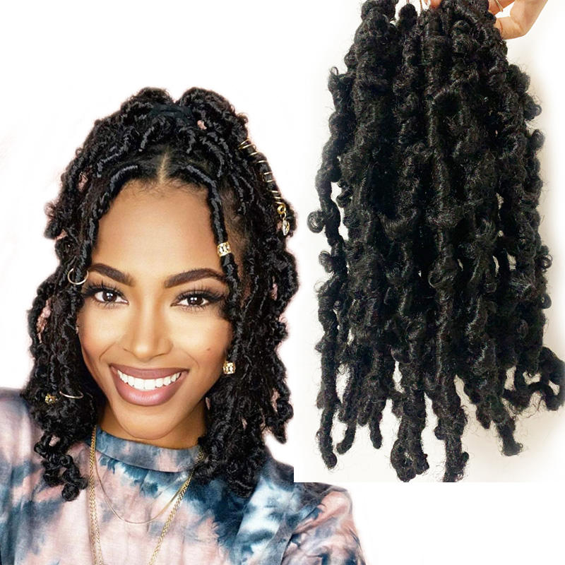 Cute Afro Girls Distressed Lock Twists Hair Braid 12 14 16 18 22 24 Inches Synthetic Boho Butterfly Locs Crotchet Hair Extension
