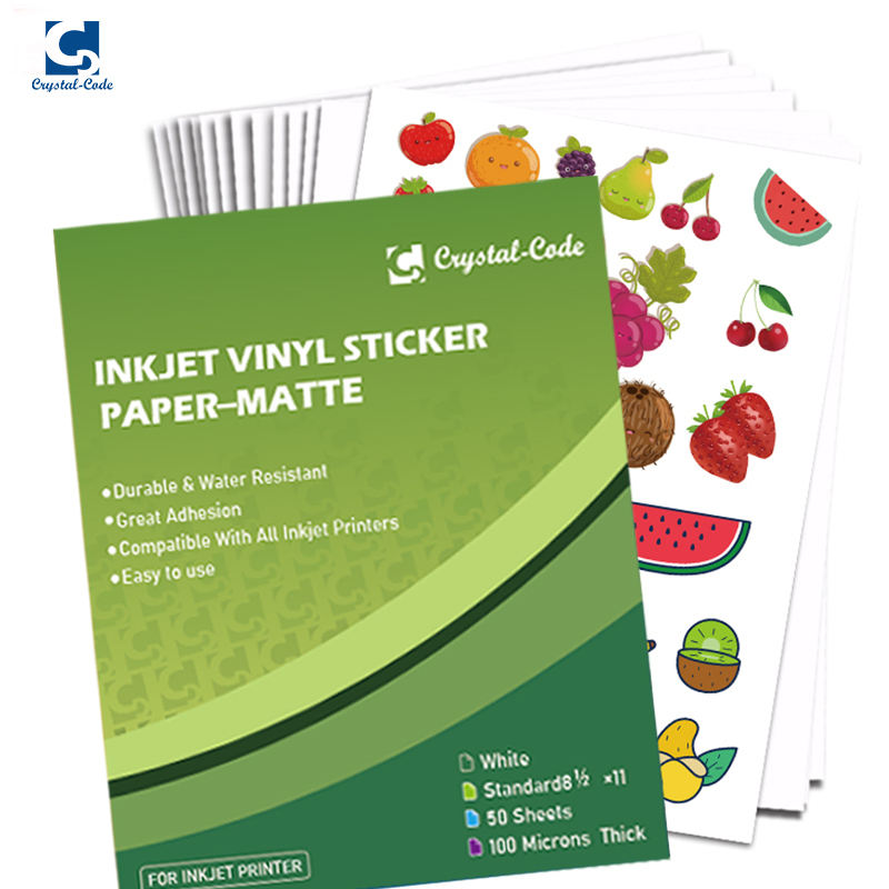 "Custom Package Sticker Paper Matte Glossy White 8.5""*11""Self Adhesive Vinyl Inkjet Removable Sticker Paper Sheet"