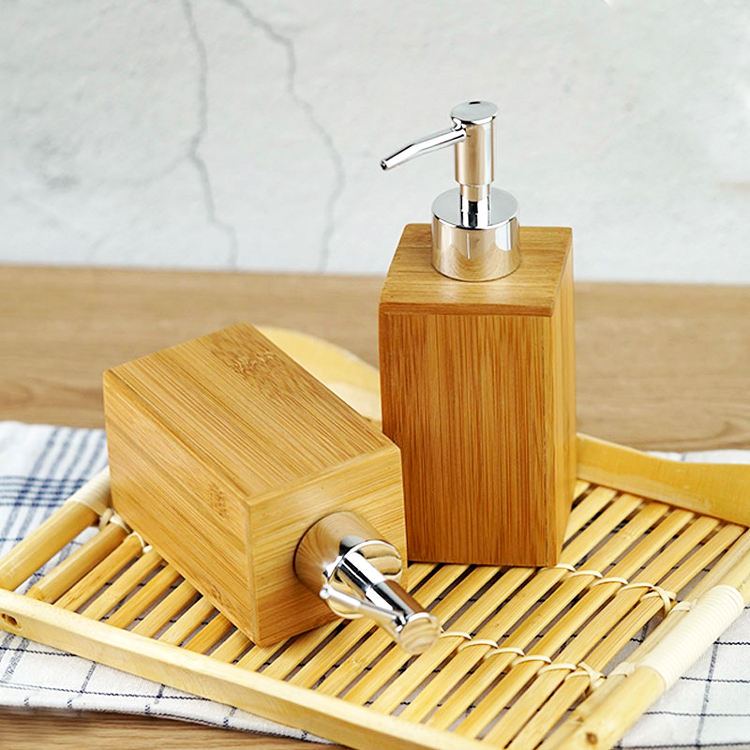 Factory Price Natural Bamboo Soap Dispenser with PET Plastic Lotion Bottle