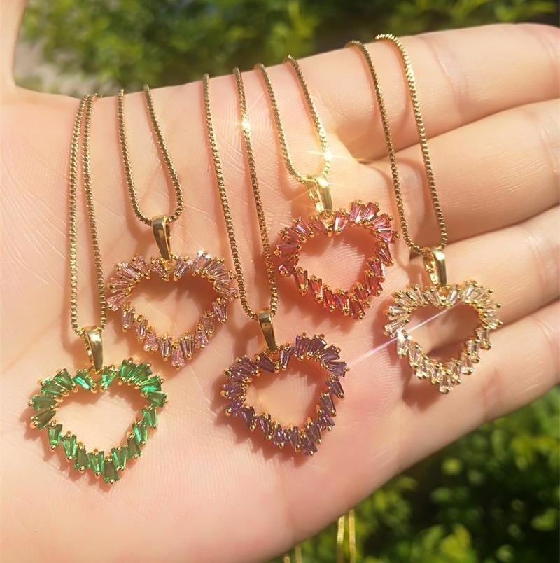 gold plated colorful gemstone jewelry heart shape pendant women Necklace